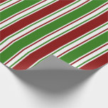[ Thumbnail: Red, White, Green Colored Christmas Themed Lines Wrapping Paper ]