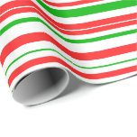 [ Thumbnail: Red, White, Green Colored Christmas-Themed Lines Wrapping Paper ]