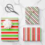 [ Thumbnail: Red, White, Green Colored Christmas-Themed Lines Wrapping Paper Sheets ]