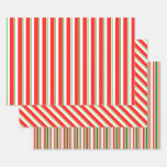 [ Thumbnail: Red, White, Green Colored Christmas Themed Lines Wrapping Paper Sheets ]