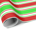 [ Thumbnail: Red, White, Green Colored Stripes/Lines Pattern Wrapping Paper ]