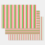 [ Thumbnail: Red, White, Green Colored Stripes/Lines Patterns Wrapping Paper Sheets ]
