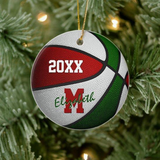 red white green festive girls boys basketball ceramic ornament