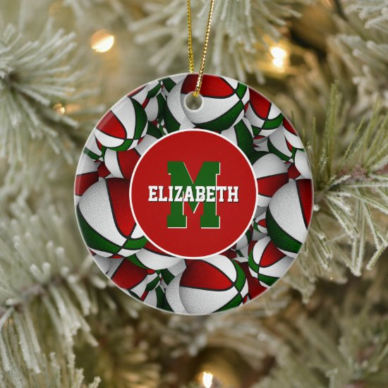 red white green festive personalized basketball ceramic ornament