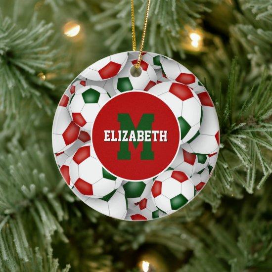 red white green festive sports personalized soccer ceramic ornament