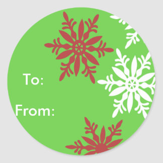 Red, White & Green Gift tags Classic Round Sticker