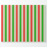 [ Thumbnail: Red, White, Green Lined Pattern Wrapping Paper ]