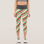 [ Thumbnail: Red, White, Green Lined/Striped Pattern Leggings ]