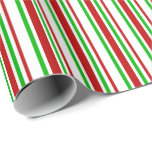 [ Thumbnail: Red, White, Green Lined/Striped Pattern Wrapping Paper ]