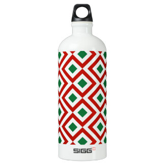 Red, White, Green Meander Aluminum Water Bottle