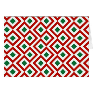 Red, White, Green Meander Greeting Card