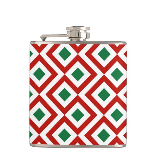 Red, White, Green Meander Flask