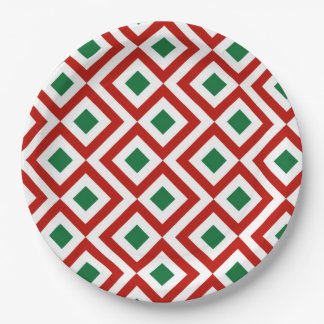Red, White, Green Meander Paper Plate