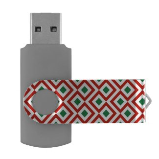 Red, White, Green Meander Swivel USB 3.0 Flash Drive
