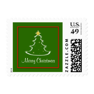 Red White & Green Merry Christmas Tree Postage