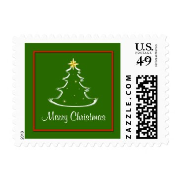 Aztec Themed Red White & Green Merry Christmas Tree Postage