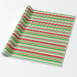[ Thumbnail: Red, White, Green Pattern of Stripes Wrapping Paper ]