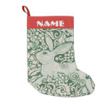 Red White Green Rabbit Stocking Personalize Folk