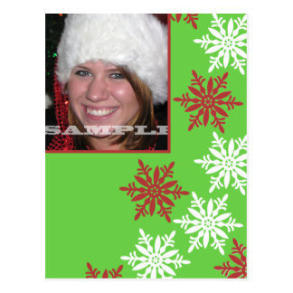 Red, White & Green-- Snowflake Photo Card