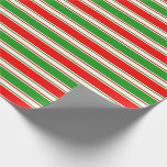 [ Thumbnail: Red, White, Green Striped/Lined Pattern Wrapping Paper ]