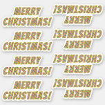 "[ Thumbnail: Red, White, Green Striped ""Merry Christmas!"" Sticker ]"