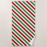[ Thumbnail: Red, White & Green Striped Pattern Beach Towel ]