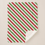 [ Thumbnail: Red, White & Green Striped Pattern Blanket ]