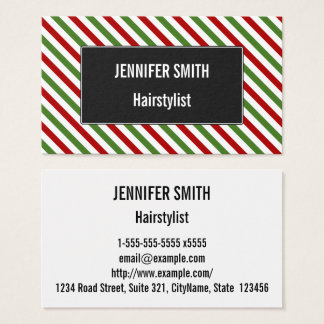 Red, White & Green Striped Pattern Business Card