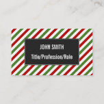 [ Thumbnail: Red, White & Green Striped Pattern Business Card ]