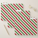 [ Thumbnail: Red, White & Green Striped Pattern File Folders ]