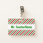 [ Thumbnail: Red, White & Green Striped Pattern + Teacher Badge ]