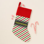 [ Thumbnail: Red, White & Green Striped Pattern W/ Custom Name Christmas Stocking ]