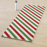 [ Thumbnail: Red, White & Green Striped Pattern Yoga Mat ]