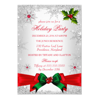 Red White Green Winter Wonderland Holiday Party Card