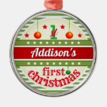 Red White Green / Your Baby's 1st First Christmas Metal Ornament