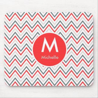 Red White Grey Chevron Zigzag Monogram Pattern Mouse Pad