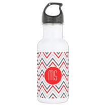 Red White Grey Chevron Zigzag Monogram Pattern Stainless Steel Water Bottle