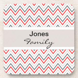 Red White Grey Chevron Zigzag Pattern Drink Coaster