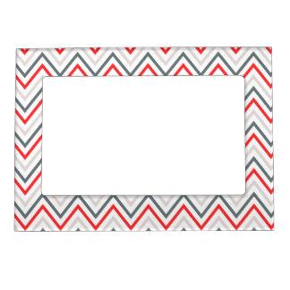 Red White Grey Chevron Zigzag Pattern Magnetic Photo Frame