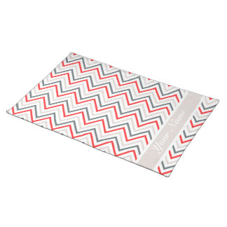 Red White Grey Chevron Zigzag Pattern Placemat