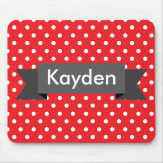 Red White Grey Polka Dot Custom Name Mouse Pad
