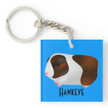 Red & White Guinea Pig With Name Keychain