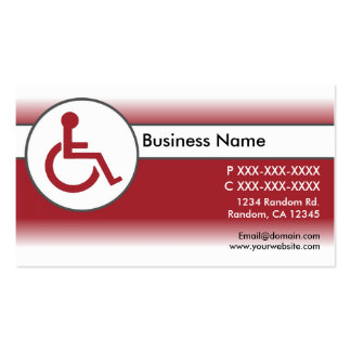 Red white handicapped symbol business cards