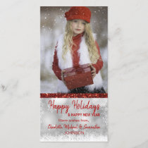 RED White Happy Holidays / New Year | PHOTO Holiday Card