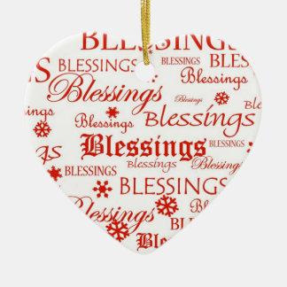Red & White Heart Blessings Christmas Ornament