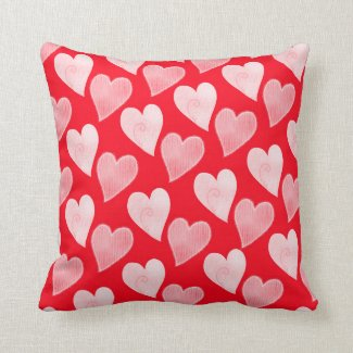 Red white heart pillow Valentine's Day