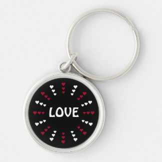 Red & White Hearts Black Customizable Love Keychains