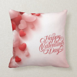 Red White Hearts Happy Valentines Day Throw Pillow