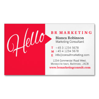 Red white hello speech quote business card magnetic business cards (Pack of 25)