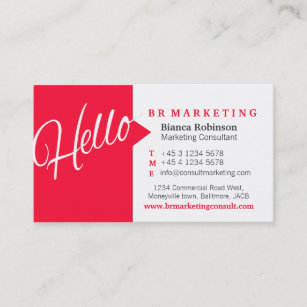 Online marketer business cards zazzle red white hello speech quote business card reheart Choice Image